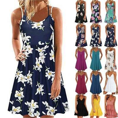 AU17.66 • Buy Womens Summer Strappy Cami Dress Ladies Beach Sleeveless Floral Vest Sundress AU