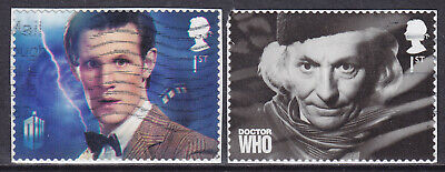 2013 GB Dr Who SG 3448 & 3450 Die Cut Used PM36 Booklet Stamps ON PAPER • 2.25£