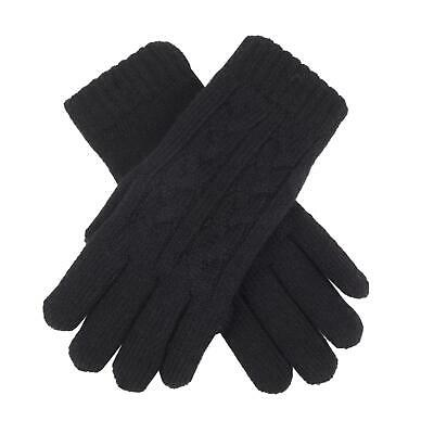 £16 • Buy Dents Black Cable Knit Ladies Gloves Fleece Lined