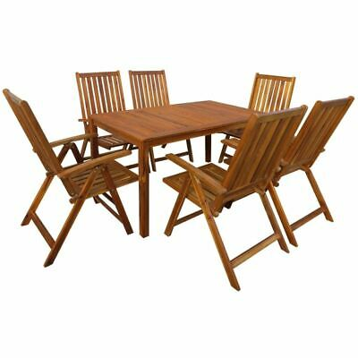 AU661.99 • Buy 7 Pcs Patio Dining Table And Chairs Set Acacia Wood Folding Garden Furniture