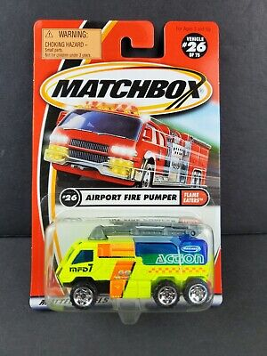 $2.03 • Buy 2001 MATCHBOX #26 AIRPORT FIRE PUMPER Neon Yellow Flame Eaters Diecast 92231 NEW