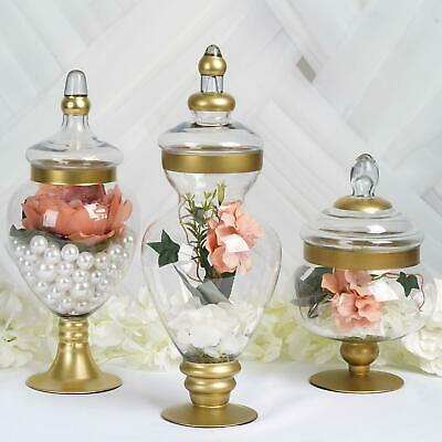 Efavormart Set Of 3 Gold Trimmed Apothecary Glass Candy Jars Candy Buffet Contai • 60.44£