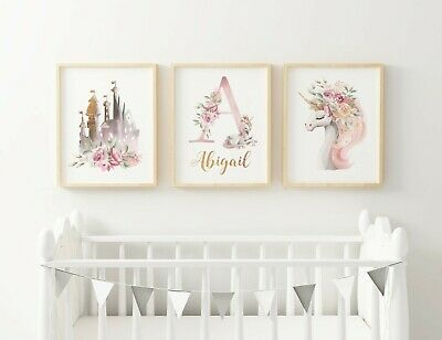 3 X PERSONALISED NURSERY PRINTS A4 - Girls Unicorn Castle Fairytale Pretty Pink • 9.99£