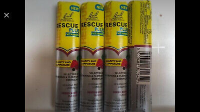 4 Packs Of Bach Rescue Plus Remedy Lozenges Brand New Mixed Berry Flavour • 8£
