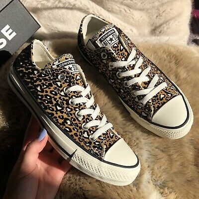 Converse All Star Low Top Trainers Heart Leopard Print Leather Size Uk 5 BNWB • 64.99£
