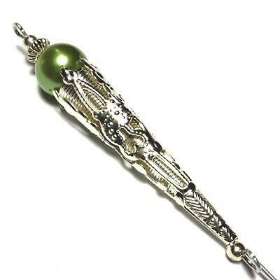 5  Silver Hat Pin Green Glass Pearl Bead Antique Vintage Style + End Protector • 6.95£