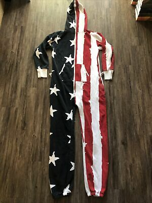 £143.85 • Buy American Flag Adult One Piece Pajamas Onepiece JUMP IN USA Red White Blue Rare