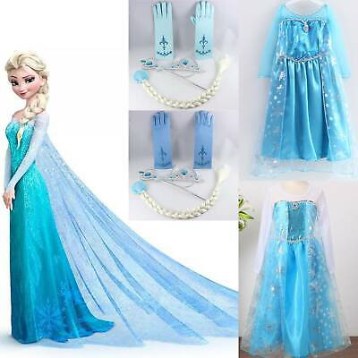 AU23.08 • Buy Kids Girls Elsa Fancy Dress Up Halloween Cosplay Party Costumes Princess Dresses
