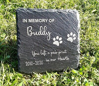 Memorial Plaque For Pet Cat Dog Slate Stone Paw Grave Marker Personalised  Gift  • 4.99£