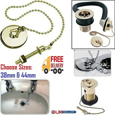 £6.95 • Buy 38/44mm Bathroom Basin Sink Replacement Plug Chain & Stay Bolt Gold Long Chain.