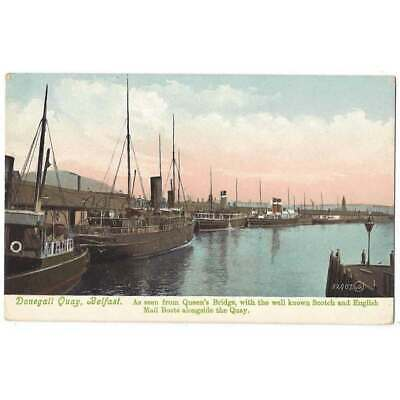 DONEGALL QUAY Belfast From Queen's Bridge Showing Mail Boats, Postcard Unused • 4.75£