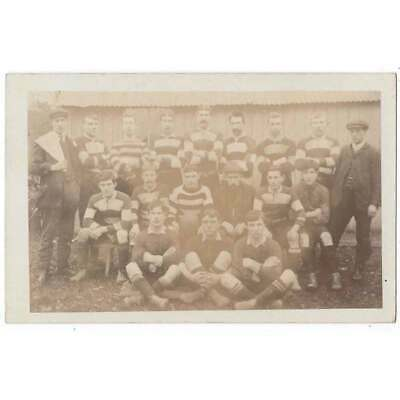 SOCIAL HISTORY Unidentified Football Team Group In Hooped Kit RP Postcard Unused • 5.95£