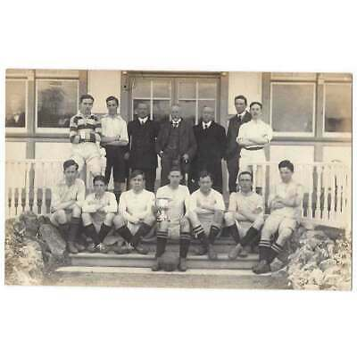 SOCIAL HISTORY Football Team Group Sitting On Pavilion Steps, RP Postcard • 5.95£