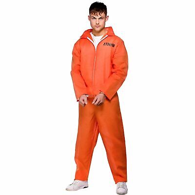 Orange Convict Criminal Robber Cop Prisoner Adults Mens Fancy Dress Costume • 12.99£