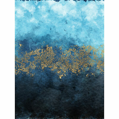 £16.99 • Buy Abstract Blue And Gold Watercolour Large Wall Print Canvas Premium Poster