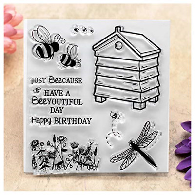 Kwan Crafts Happy Birthday Just Beecause Bee Flowers Clear Stamps For Card And • 8.38£