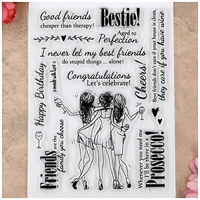 Kwan Crafts Good Friends Happy Birthday Cheers Clear Stamps For Card Making And • 8.89£