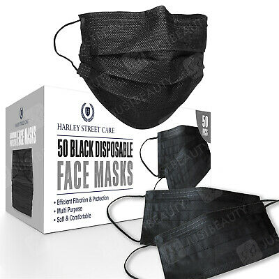 50/100/500 Black Face Mask 3-Ply Breathable Disposable Non Surgical /Medical UK • 9.99£