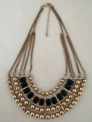 Grecian Cleopatra Style Gold Tone & Black Beaded Necklace Costume Jewellery • 6.50£