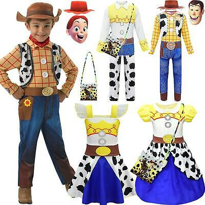 Kids Fancy Dress Toy Story 4 Jessie Woody Cowboy Cosplay Costume Party Outfit UK • 10.16£
