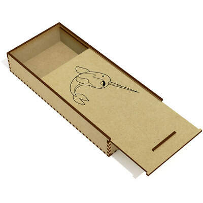 'Narwhal' Wooden Pencil Case / Slide Top Box (PC00003781) • 6.99£