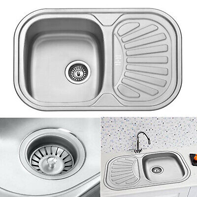 Stainless Steel Small 1.0 Bowl Inset Compact Kitchen Sink Drainer Plumbing Waste • 52.75£