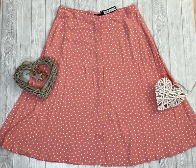 New M&S Pink Polka Dot Rockabilly Pockets 40s 50s 60s Button Flare Skirt Size 20 • 22.99£