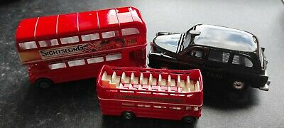 3 London Transport Diecast Toy Vehicles, 2 Buses & Taxi. Unboxed Good Condition. • 9.99£