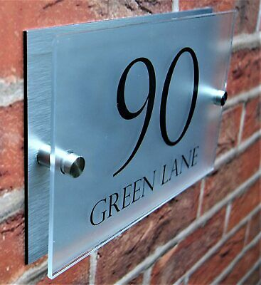 House Sign Wall Gate Door Number Street Name Plaque Acrylic Stylish Dual Layer • 6.99£