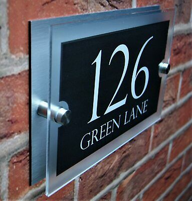 £6.99 • Buy House Sign Wall Gate Door Number Street Name Plaque Acrylic Stylish Dual Layer