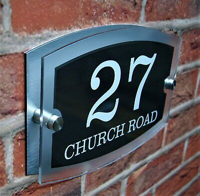 £6.99 • Buy Stylish Dual Layer Door Number House Sign Wall Street Name Plaque Acrylic