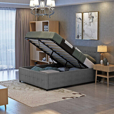 4ft6 5ft Double King Size Ottoman Fabric Storage Gas Lift Up Bed With Headboard • 174.82£