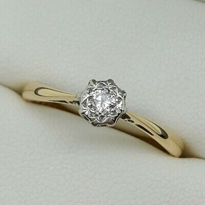 Vintage Diamond Solitaire Ring In 18ct Gold And Platinum. Ring Size Q. • 140£