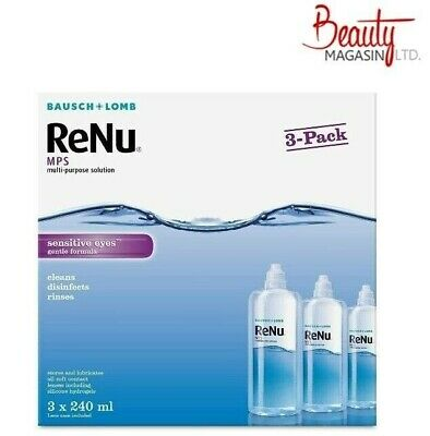 Bausch&Lomb ReNu MPS Multi-purpose Contact Lens Solution 3x240ml 3 Month Supply • 12.39£