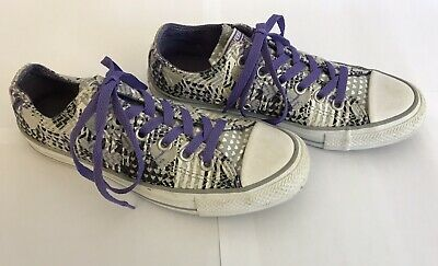 CONVERSE ALL STAR Grey Purple Heart Print Low Top Lace Up Trainers Sneakers UK 5 • 17£