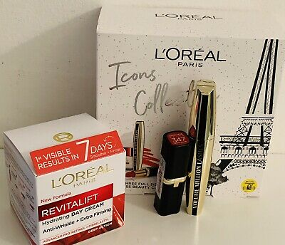 £10 • Buy L'OREAL MAKEUP PARIS BEAUTY ICONS COLLECTION FULL SIZE. Mascara. Lipstick. Etc