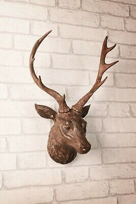 Wall Mounted Stag Head Deer Antlers Wall Plaque Sculpture Figure 47cm Decoration • 19.99£