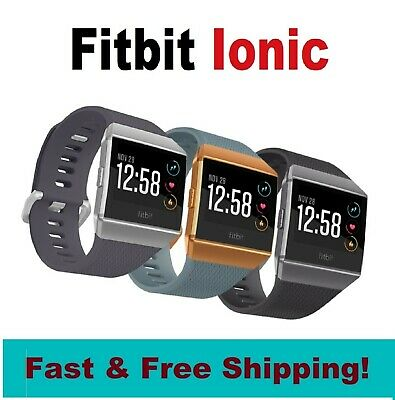 $ CDN170.96 • Buy Fitbit IONIC Smartwatch Activity Tracker Charcoal/Gray Blue/Orange (S & L Bands)