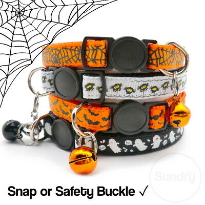 Spooky Halloween Cat Kitten Collar Safety Or Snap Adjustable Bell Bat Ghost  • 3.99£