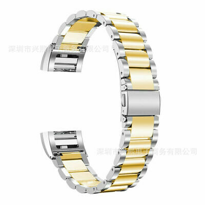 AU13.99 • Buy Silver&Gold Stainless Steel Steel Bracelet Strap Watch Band For Fitbit Charge 2