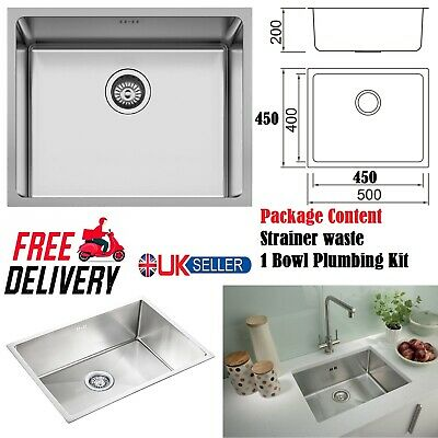 1.0 Square Large Super Deep Single Bowl Stainless Steel Undermount Kitchen Sink • 78.95£