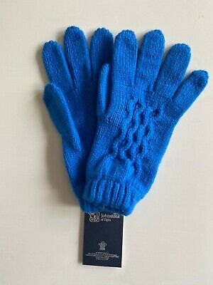 £35 • Buy Ladies Knitted Cashmere Gloves In Blue With Cable Made In Scotland By Johnstons