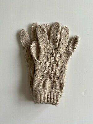 £35 • Buy Ladies Knitted Cashmere Gloves Natural With Cable Made In Scotland By Johnstons