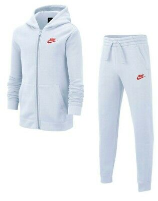 Boys Nike Full Tracksuit Top Jacket Bottoms Kids Grey Track Pants Fleece 10-12 M • 44.95£