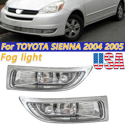 $38.26 • Buy Left+Right Front Fog Driving Lamp Light Clear Lens For 2004 2005 Toyota Sienna