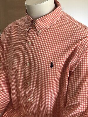 "Mens Ralph Lauren Gingham Shirt, Size XL, Orange VGC, 48"" Chest • 16£"