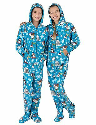 Footed Pajamas W/ Hood Blue Polar Bears And More Fleece Toddler Med & Kids Small • 12.16£
