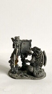 """£12.80 • Buy WAPW Myth & Magic """"The Artist"""" Pewter & Crystal Dragon Figure With Fairy. Signed"""