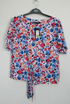 New Marks & Spencer Tie Front Fruit Print Blouse Top Size 12 • 8.49£