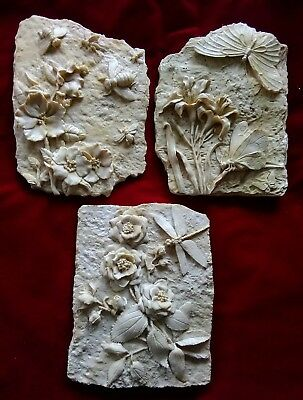 3 New Latex Moulds,candle,garden Ornaments, Dragonfly,bee,butterfly Plaques SALE • 21£
